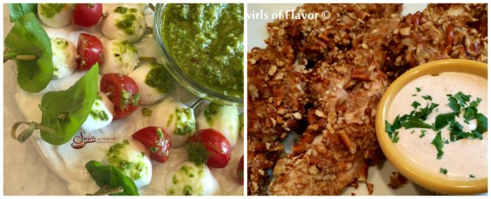 Caprese Skewers and Pretzen Chicken With Dip