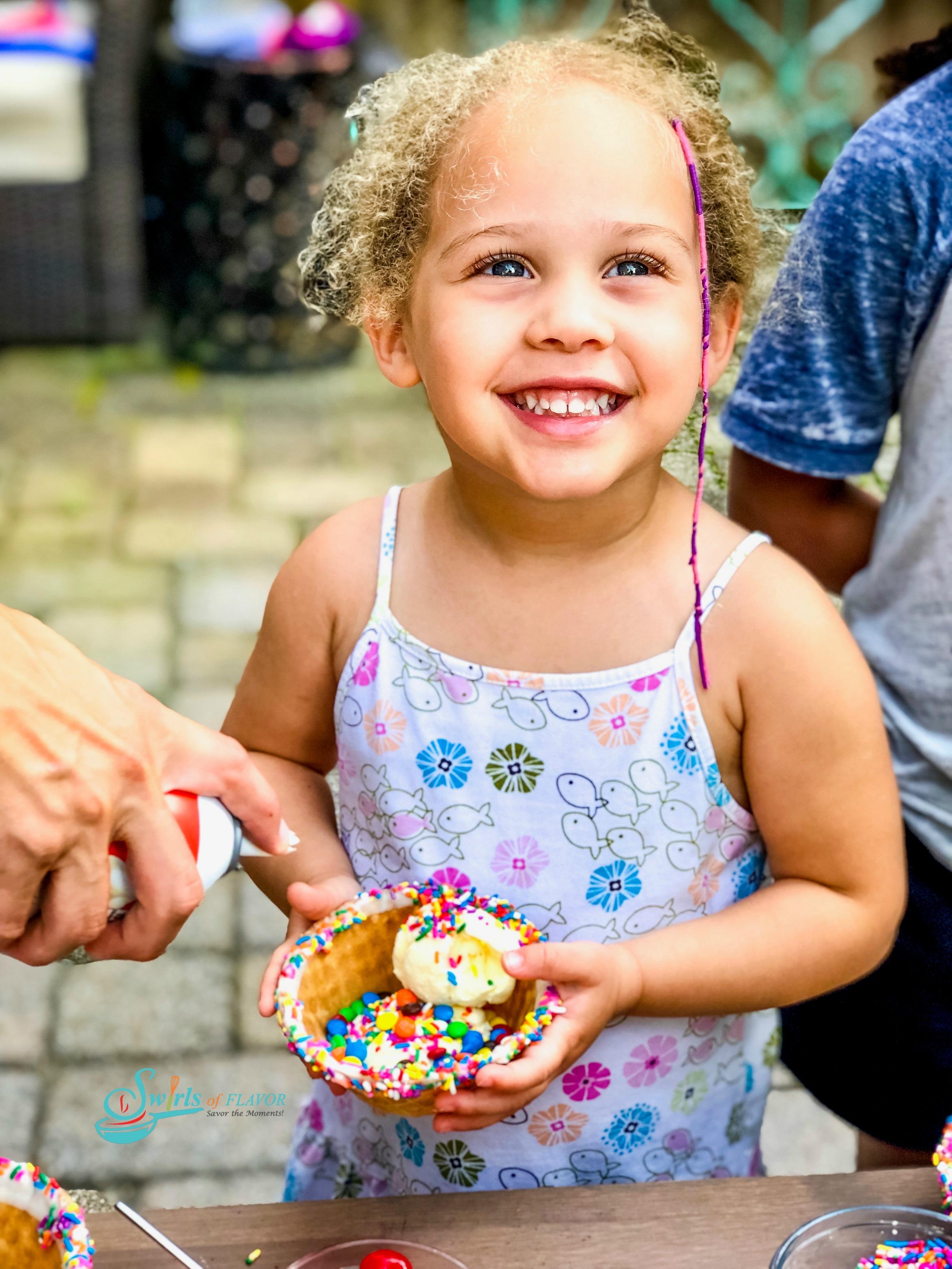 Cori and her ice cream sindae!