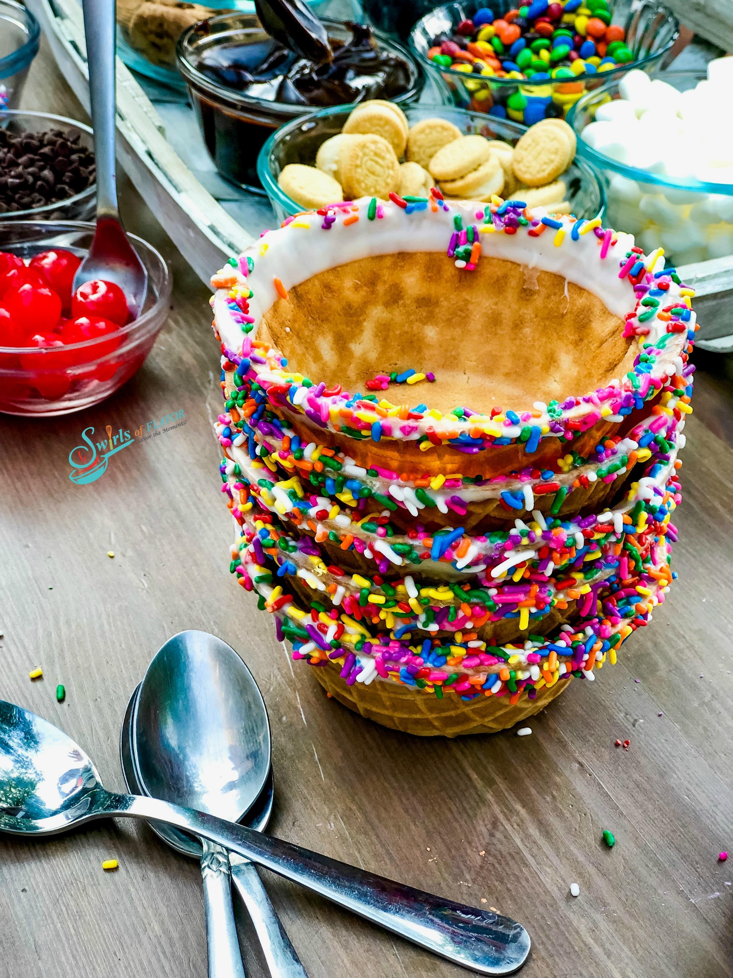 Rainbow waffle cups