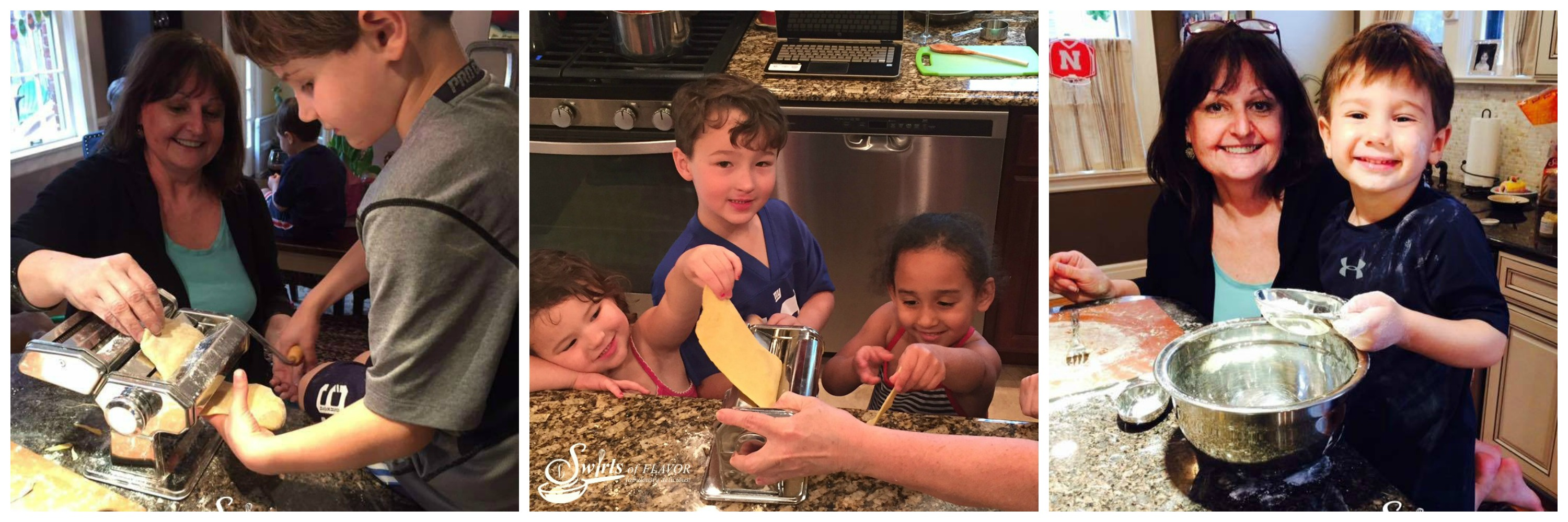 Grandkids Making pasta
