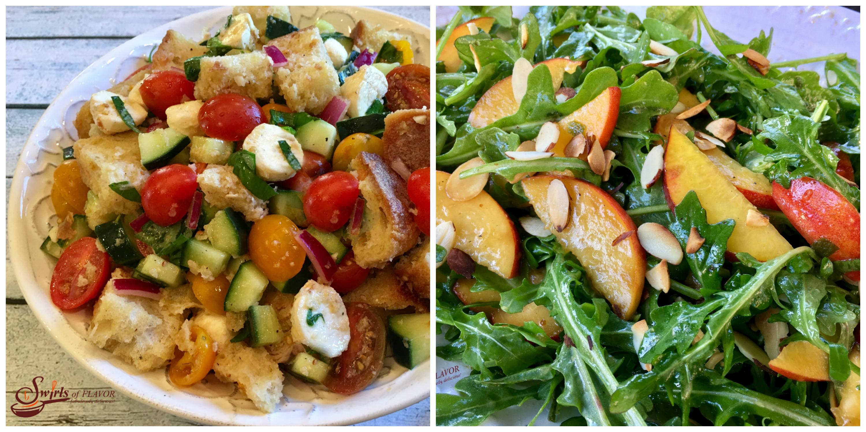 Panzanella and Peach Arugula Salad
