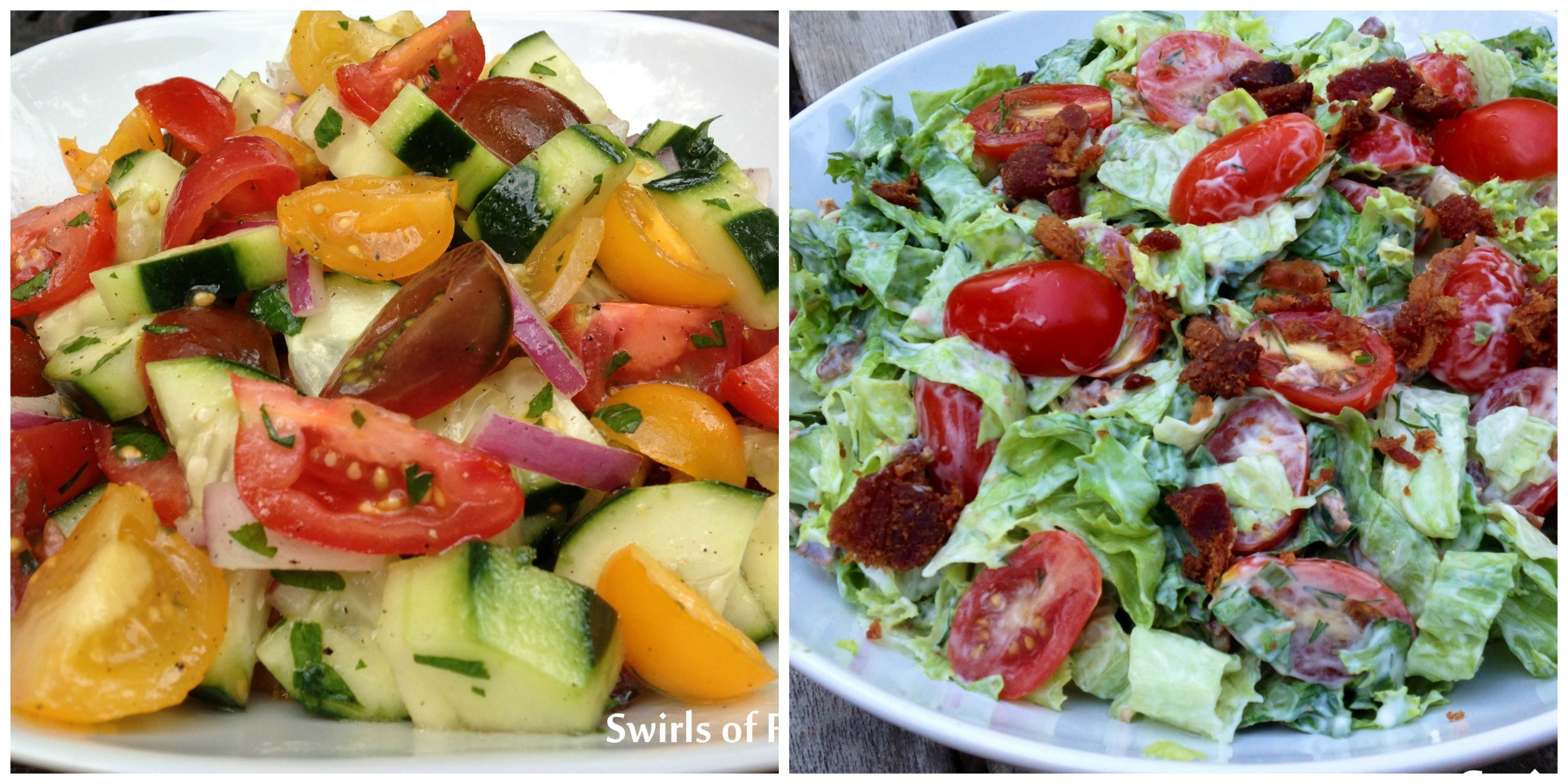 Tomato cucumber Salad and BLT Salad