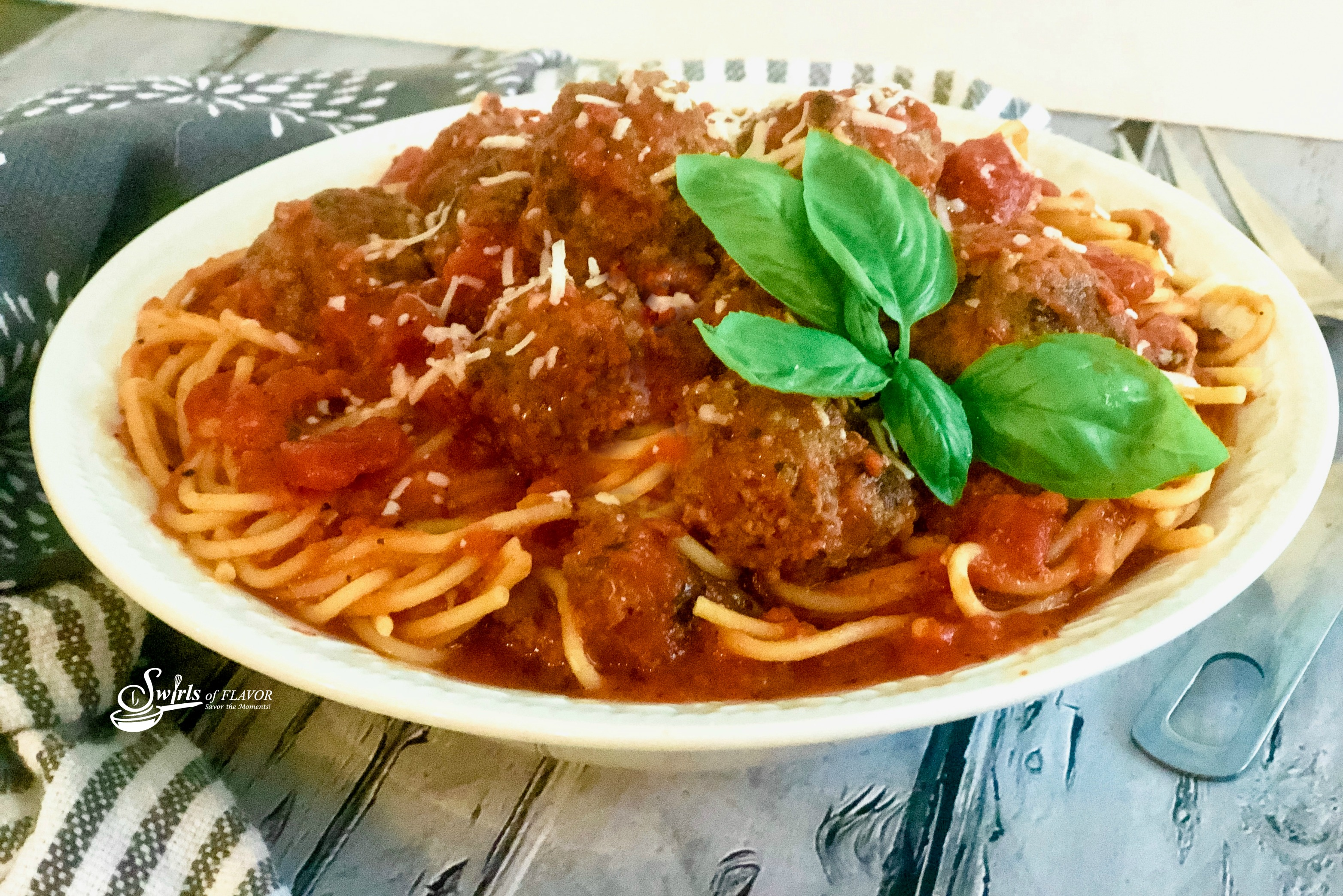Bowl of spaghetti and meatballs