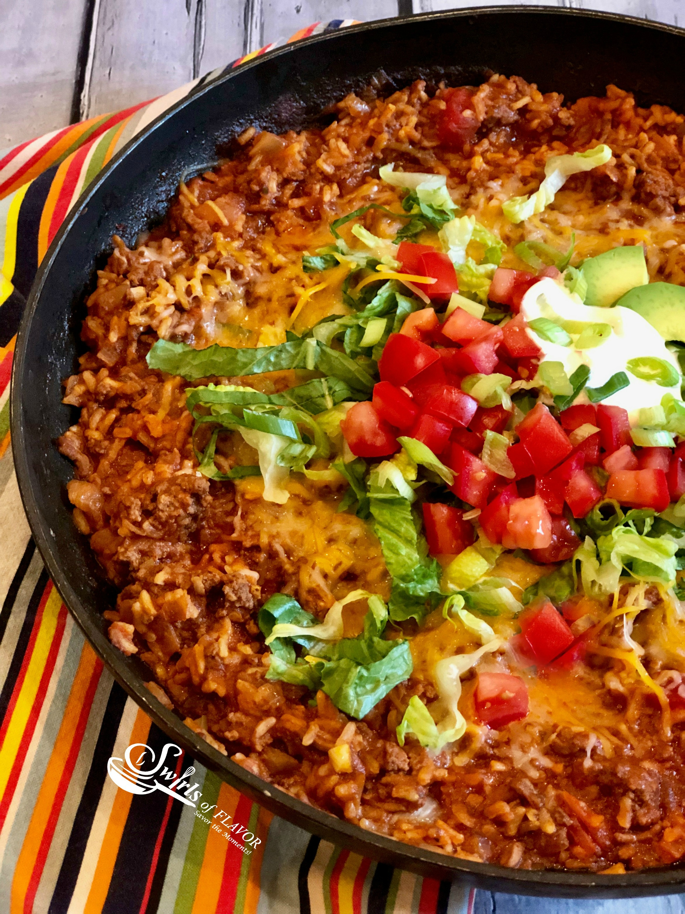 One Pot Taco Beef and Rice in skillet