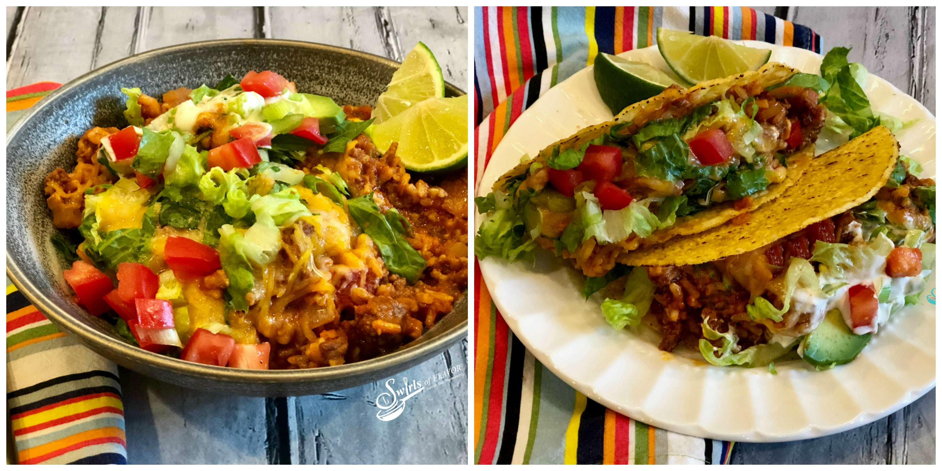 Taco Beef and Rice served in a bowl and Taco Beef served in taco shells