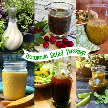 Collage of homemade salad dressings