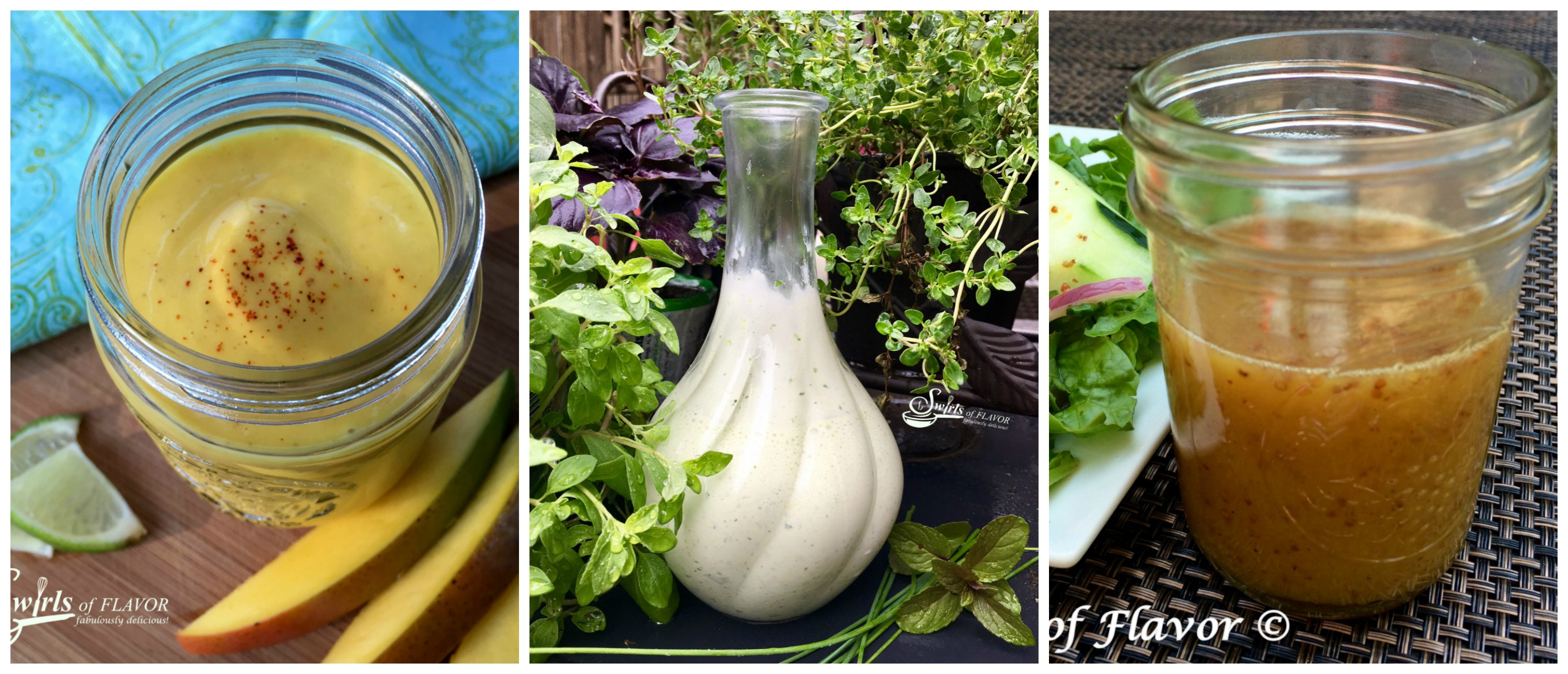 Chipotle Mango Salad Dressing, Green Goddess Salad Dressing and Honey Mustard Salad Dressing