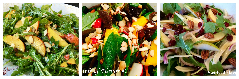 Collage of three tossed salads