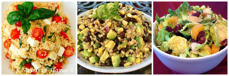 Quinoa Caprese, Black Bean can Corn Farro Salad and Brussels Sprout Salad