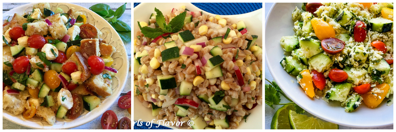 Panzanella, Zucchini Farro Salad and Cucumber Tomato Cauliflower Rice Salad