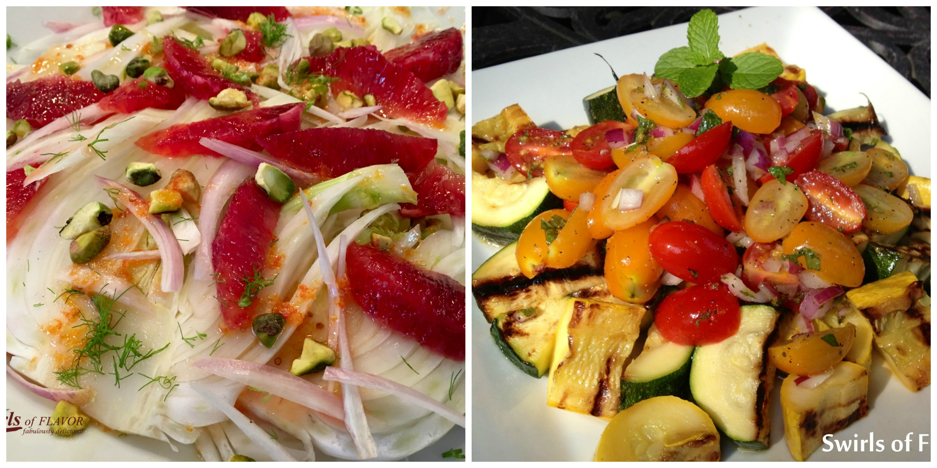 Blood Orange Fennel Salad and Zucchini Tomato Salad