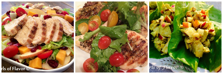 Apple Cheddar Chicken Salad, Chicken Milanese With Salad, Curried Chicken Salad