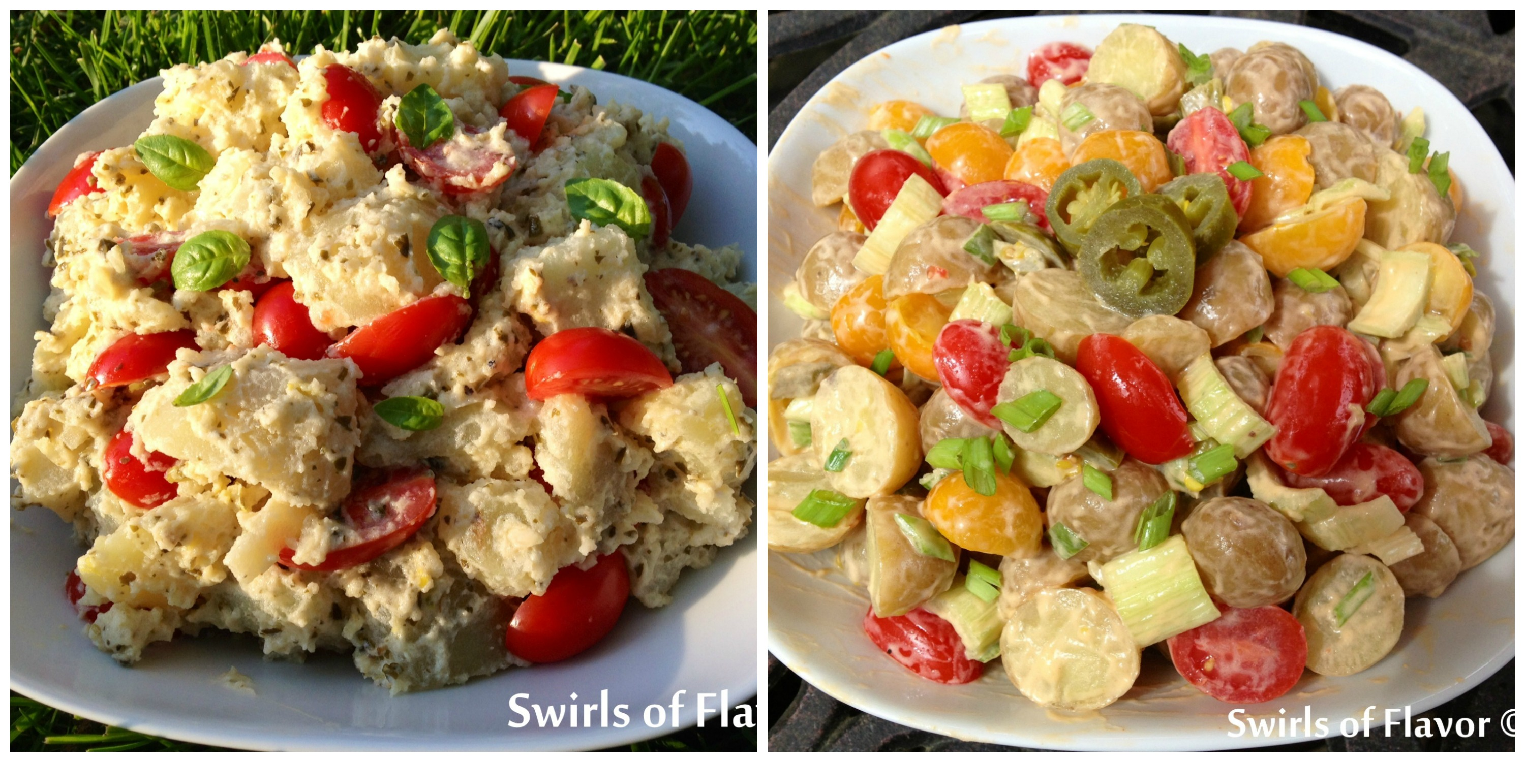 Creamy Pesto Potato Salad and Buffalo Potato Salad