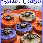 Halloween cookies with oreo spiders and text overlay