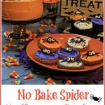 cookies for Halloween with edible spiders and text overlay