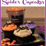 cupcakes with cookie spiders on top and text overlay