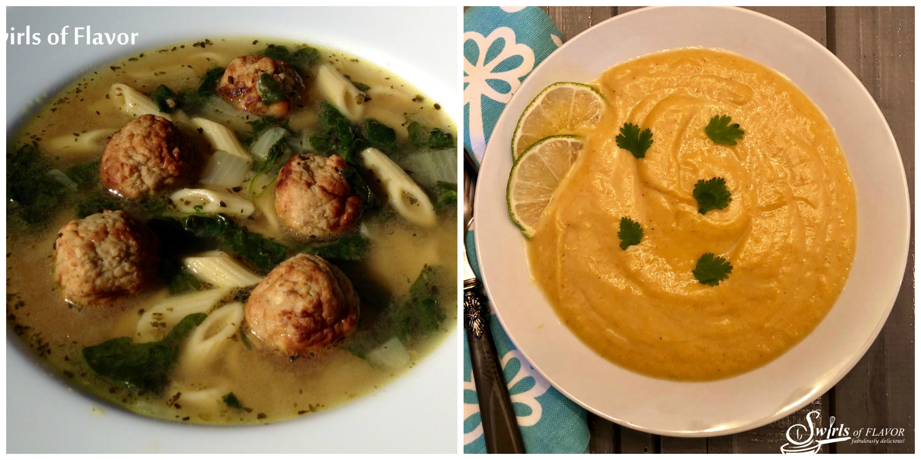 Italian Wedding SOup and Curried Cauliflower Soup