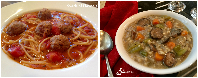 Spaghetti and meatball Soup and Mushroom Barley Soup
