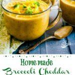 Broccoli Cheddar soup in mugs