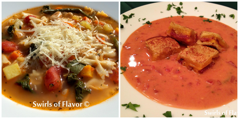 Pesto Minestrone and Creamy Tomato Soup