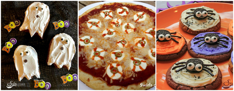 Ghost Brownies; eyeball Pizza; Spider Cookies