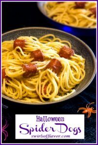 hot dog spaghetti spiders with text overlay