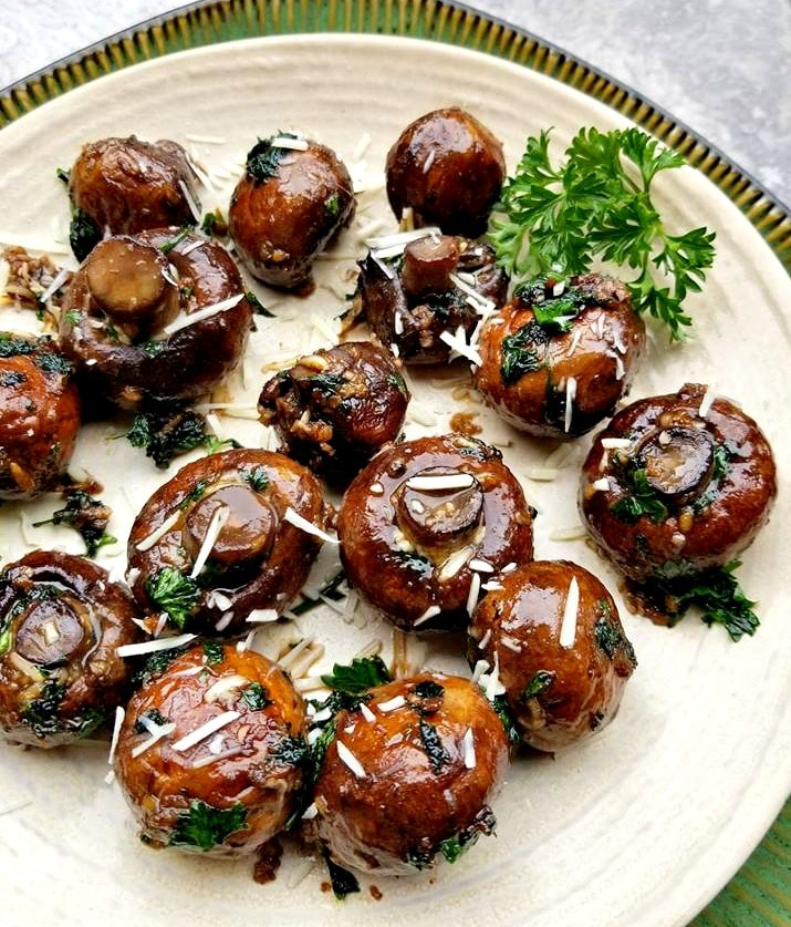 Butter Herb Parmesan Mushrooms