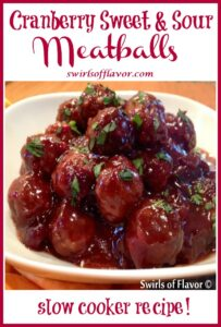 pile of meatballs with sweet and sour sauce and text overlay