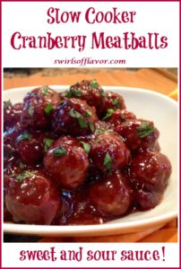 slow cooker meatballs in white dish with text overlay
