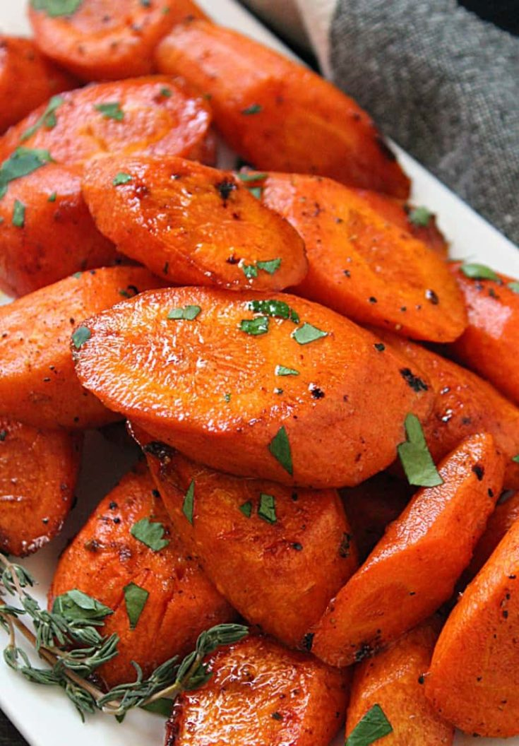 Oven Roasted Brown Butter Honey Glazed Carrots ~ A Gouda Life