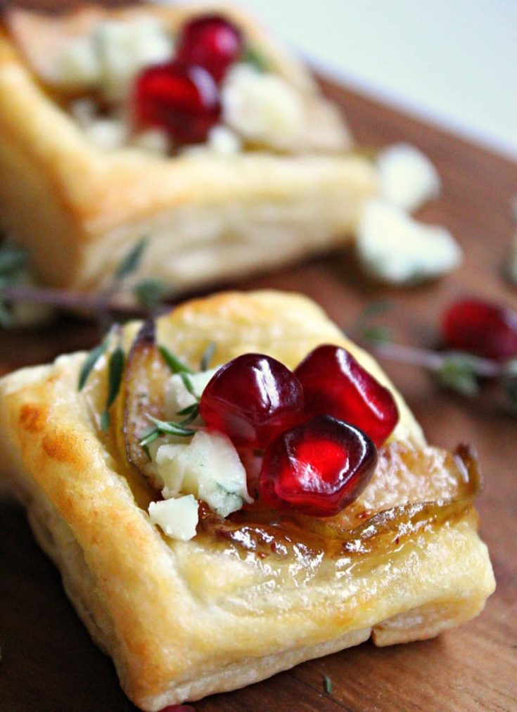 Pear Blue Cheese Puff Pastry Bites ~ A Gouda Life