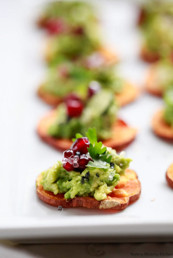 Sweet Potato Crostini with Avocado, Pomegranate, and Caviar Lime - Baked Sweet Potato Slices with Avocado