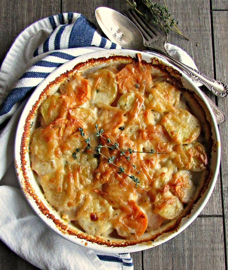 Yukon Gold Sweet Potato Au Gratin ~ A Gouda Life