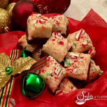 Candy cane fudge in gift tin