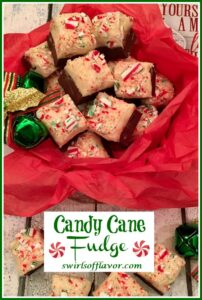 candy cane fudge in tin with text overlay