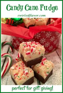 stack of peppermint fudge with text overlay