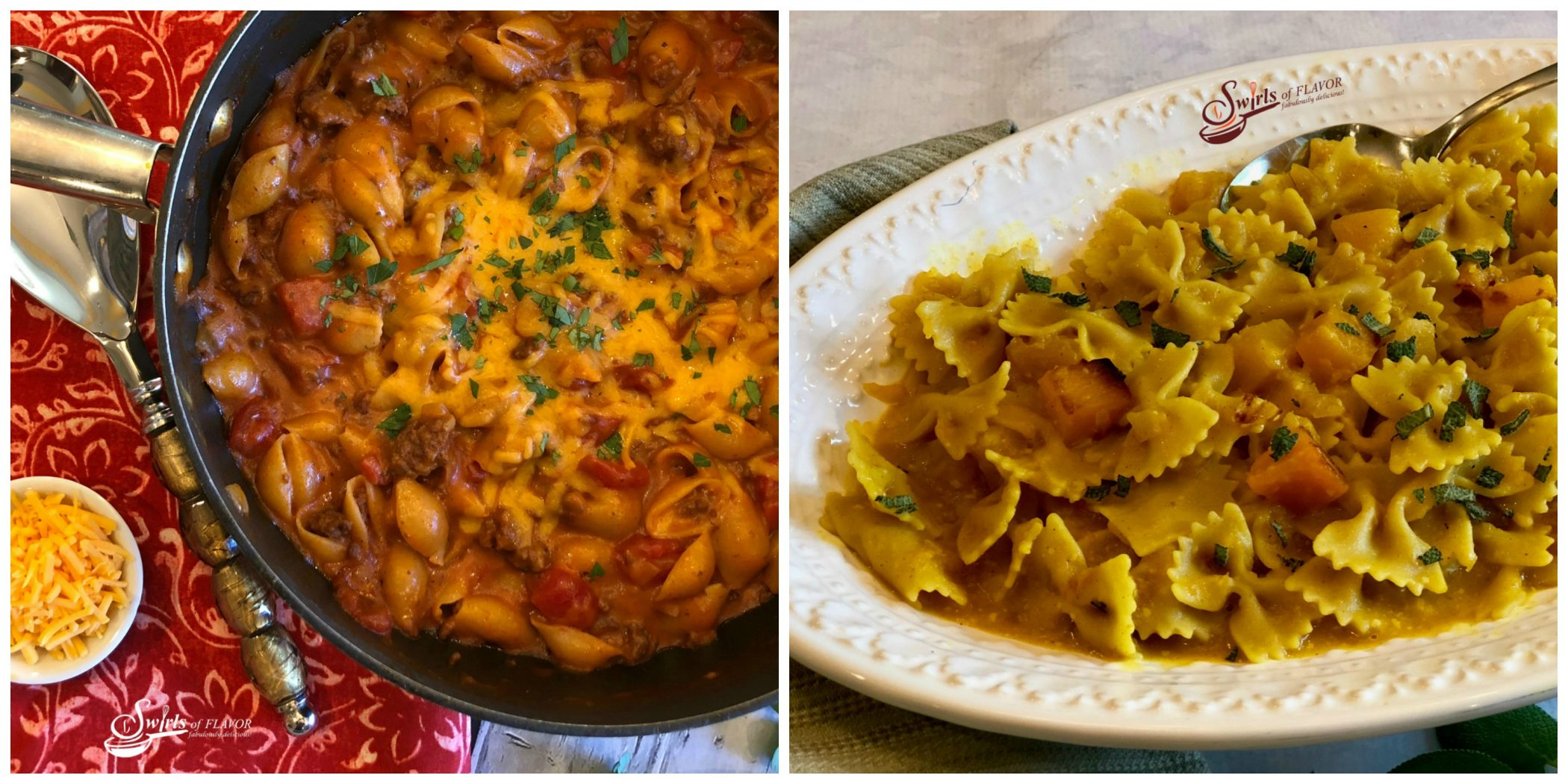 Chili Mac and Cheese and Butternut Squash Pasta and Sage