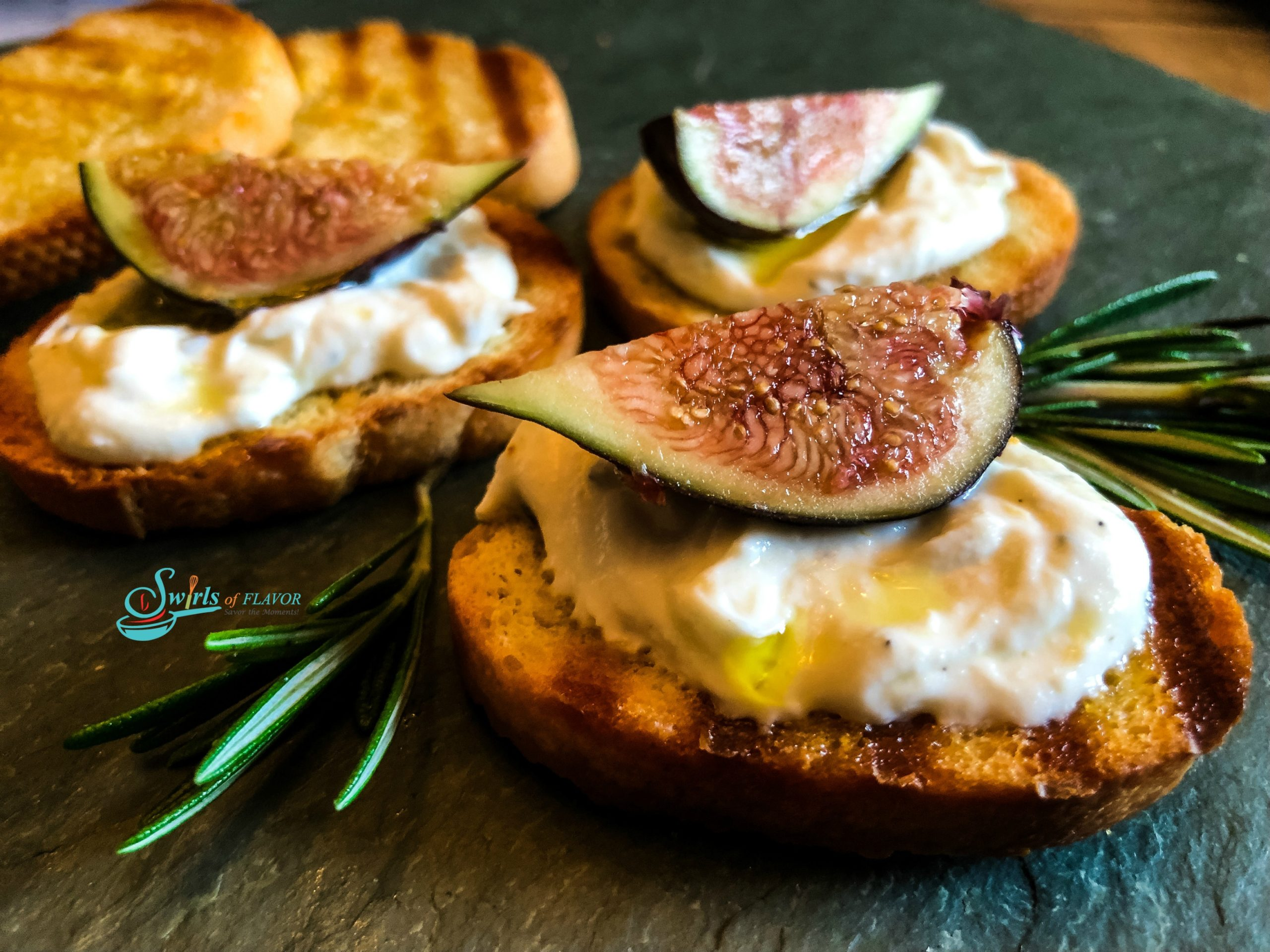 Ricotta Dip on toasts with frresh figs