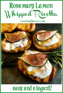 ricotta dip with fresh figs on crostini with text overlay