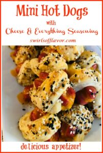 cheese dogs with everything seasoning and text overlay