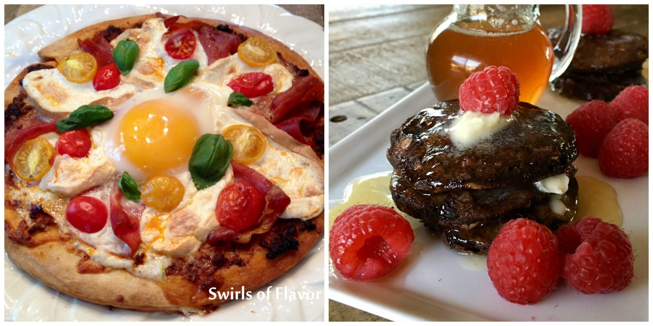 Breakfast Pizza and Chocolate Oat Pancakes