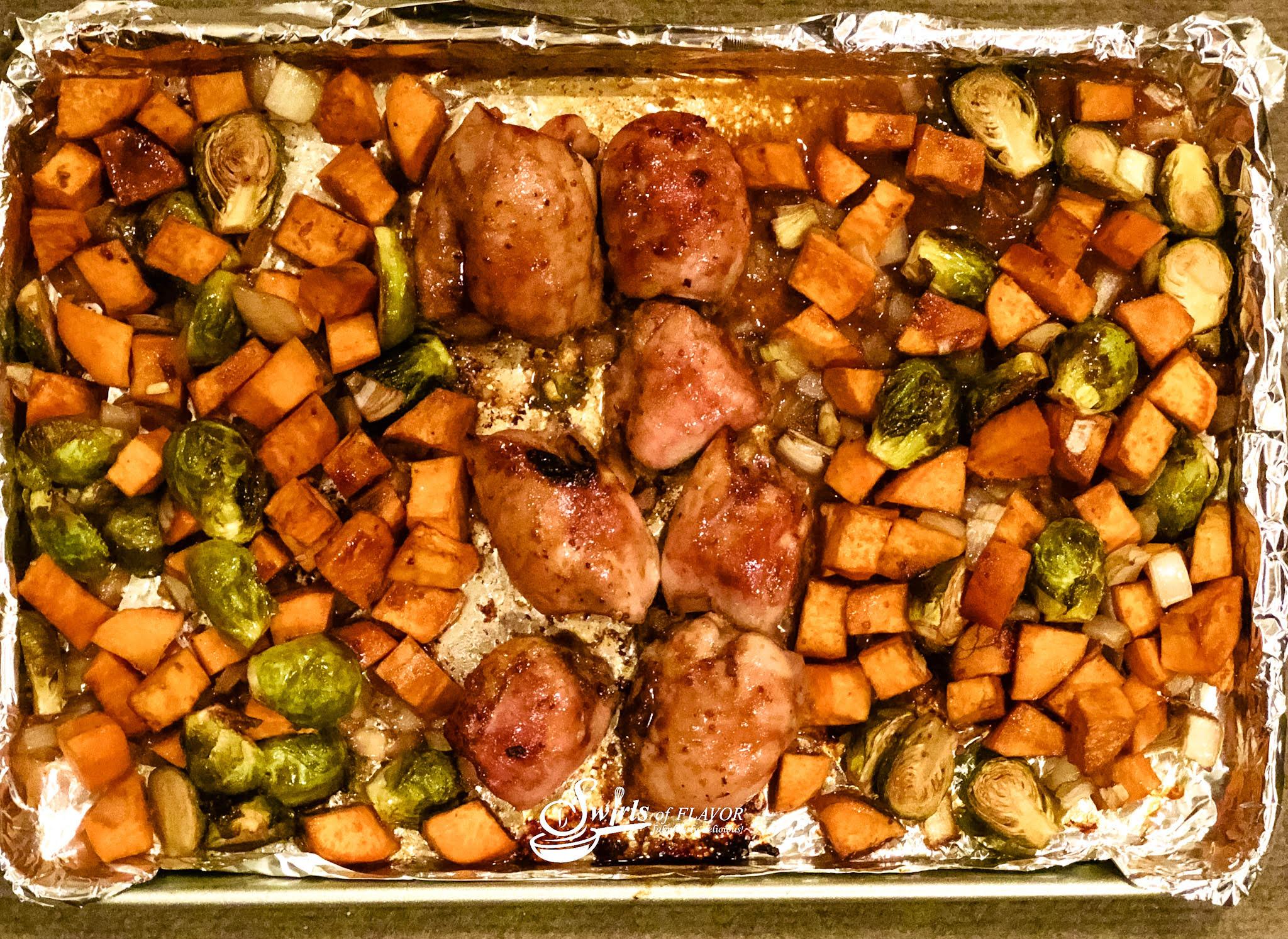 Sheet Pan Balsamic chicken in pan after cooking