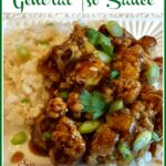 cauliflower with general tso sauce and rice and text overlay