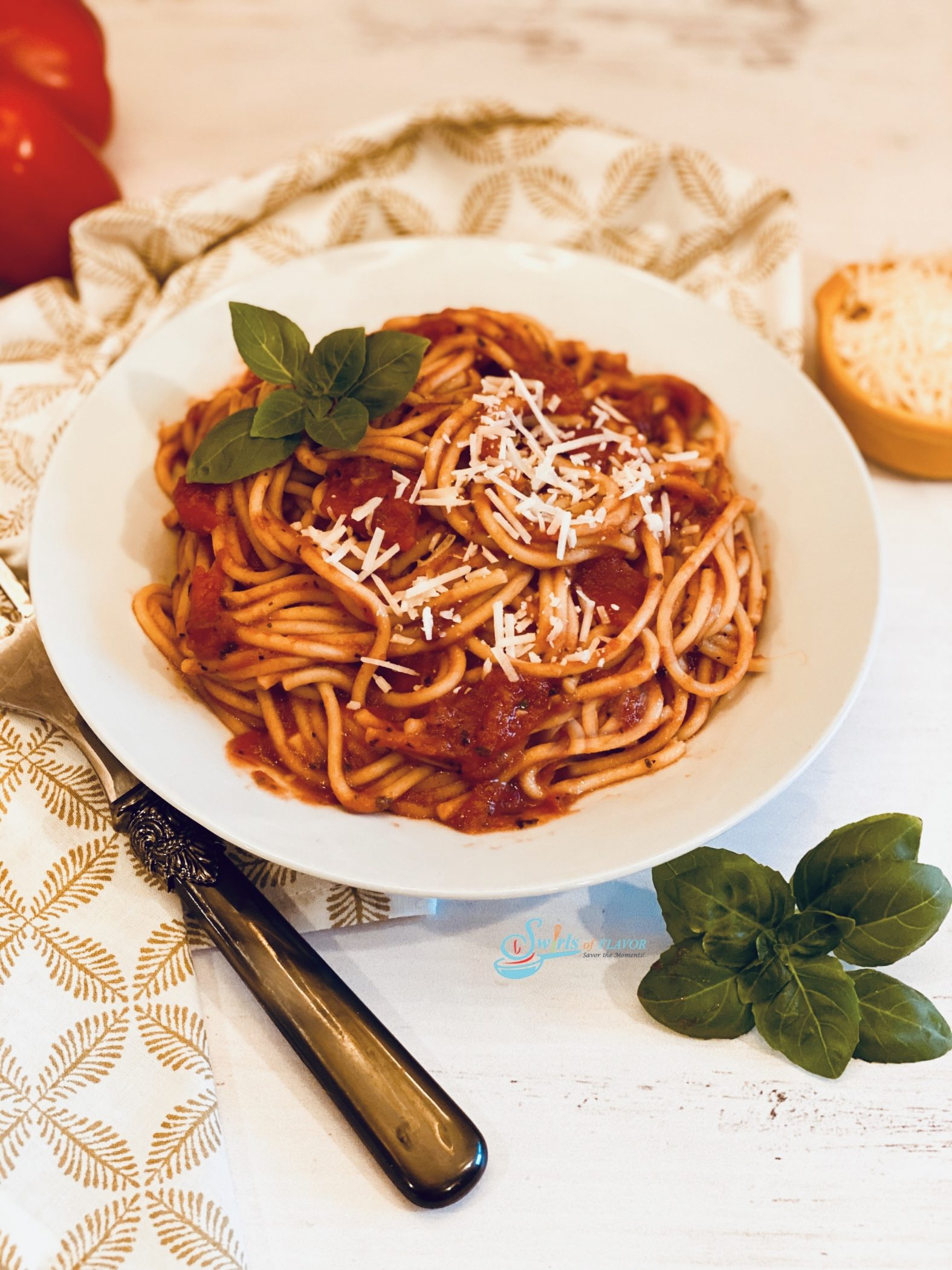 Instant Pot Spaghetti overhead photo