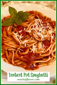 spaghetti with tomato sauce and text overlay
