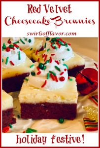 red velvet cheesecake brownies with holiday sprinkles and text overlay