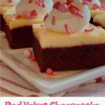 red velvet brownies with cheesecake layer and text overlay