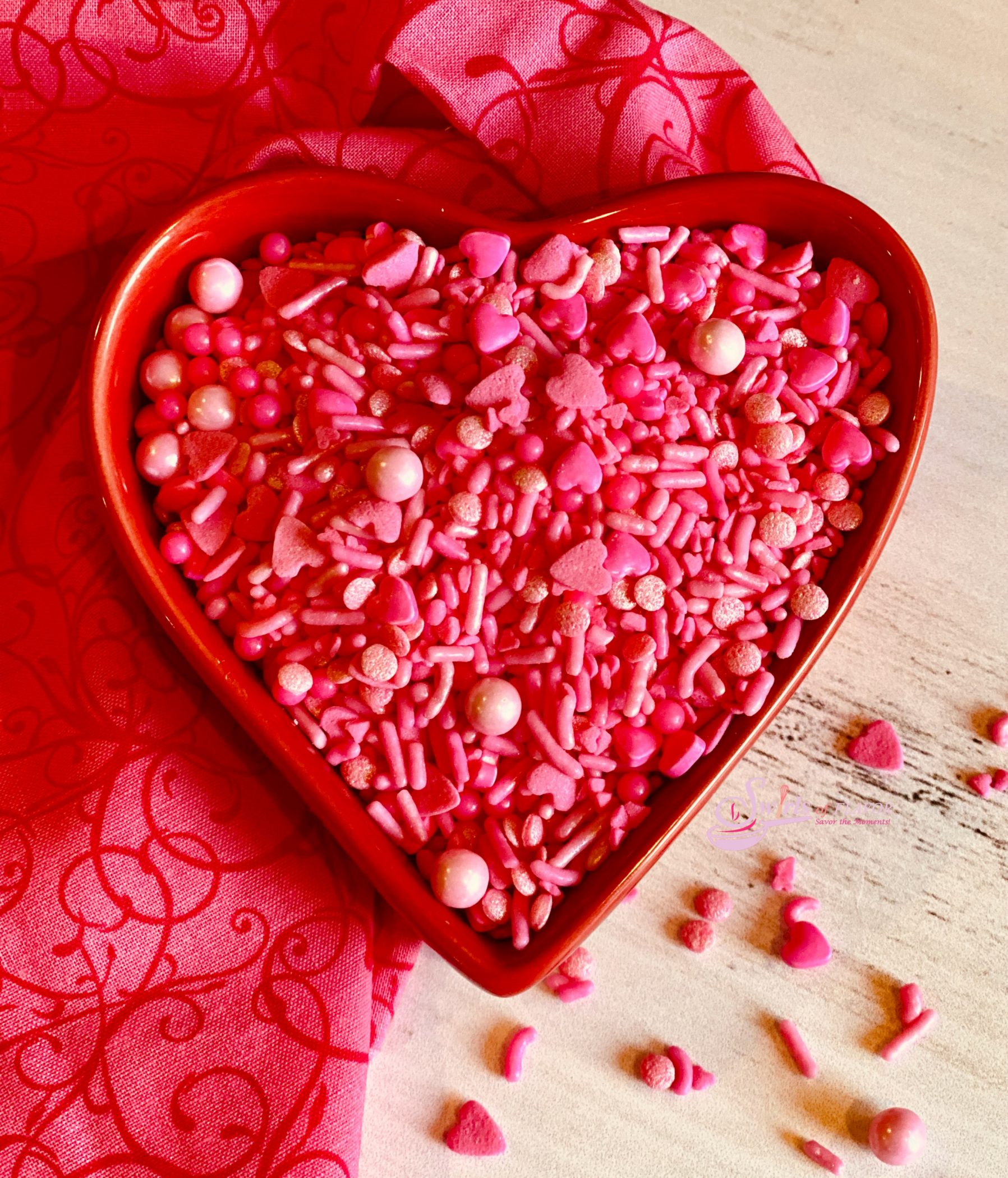 Valentine Sprinkles in heart shaped dish