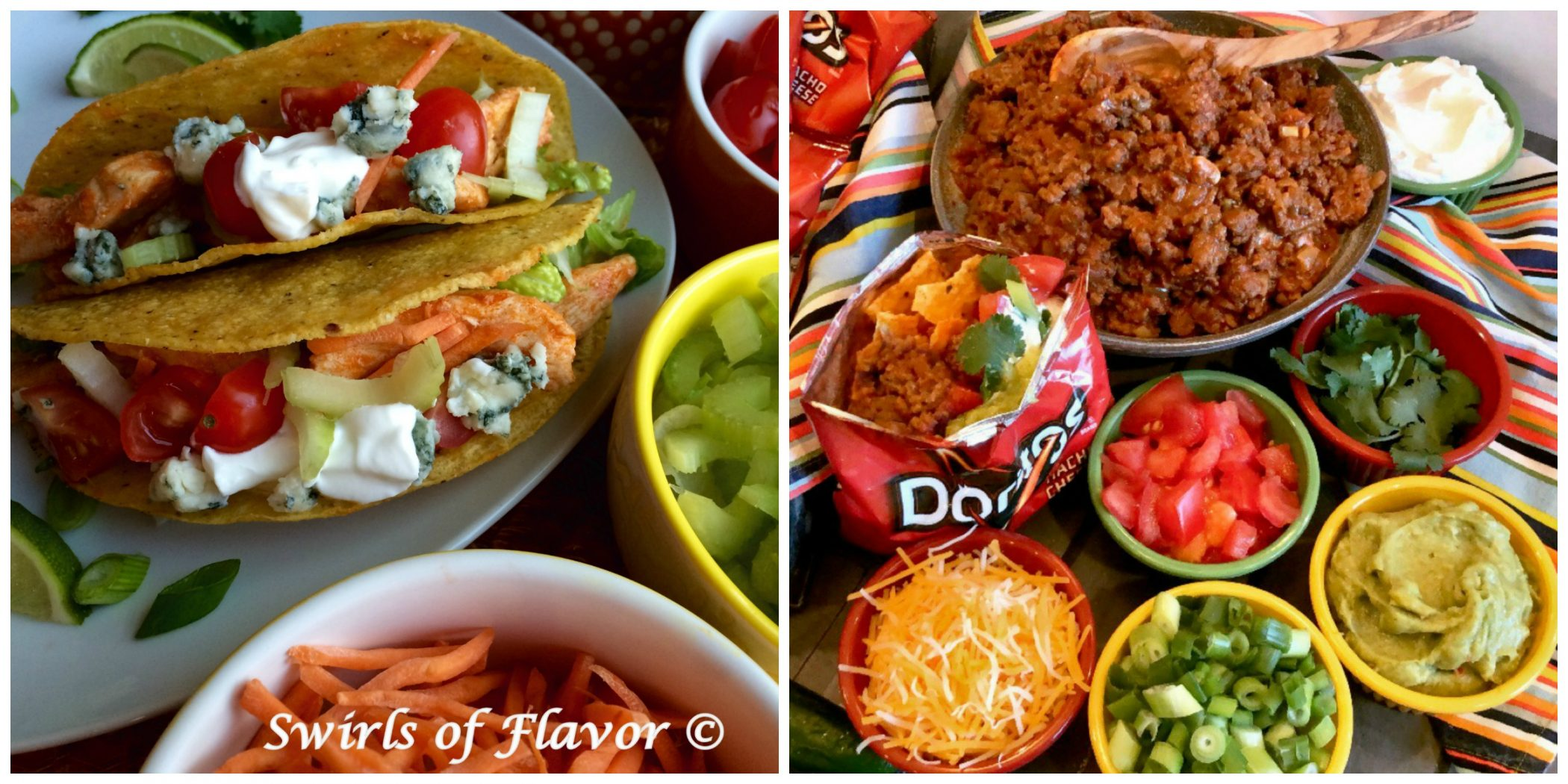 Buffalo Chicken Tacos and Walking Taco Bar