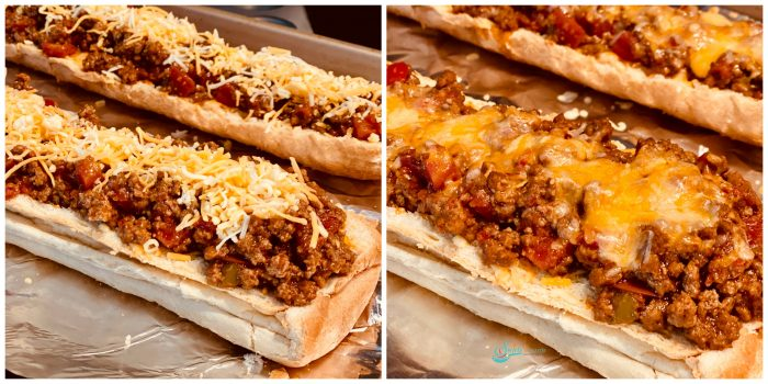 Taco bread sprinkled with cheese and then baked with melted cheese
